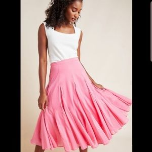 Anthropologie Maeve pink cotton skirt